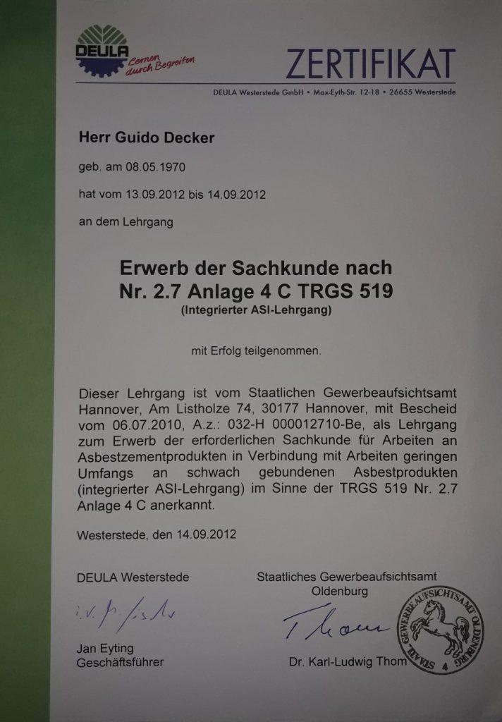 Zertifikat Asbestsanierung nach Anlage 4 CTRGS 519